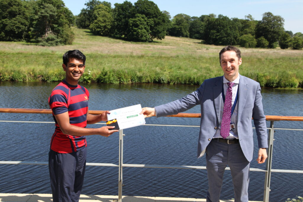 Yarm Apprentice runner-up 2021 receives prize from Headmaster